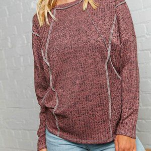 NEW ARRIVAL!  NWT! Mauve Rib Out Seam Detailed Top NWT